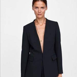 Zara Black Blazer W/O Lapels